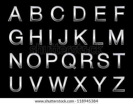 Vector illustration of a silver alphabet. - stock vector