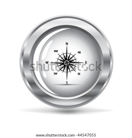 vector illustration of a silver metallic  icon with a wind rose - stock vector