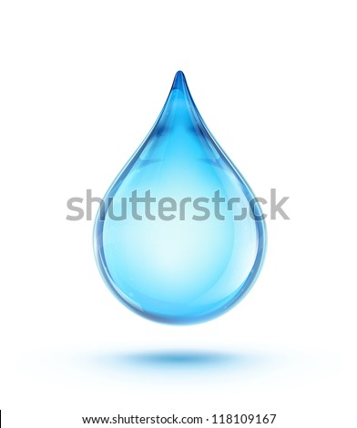 Vector illustration of a single blue shiny water drop