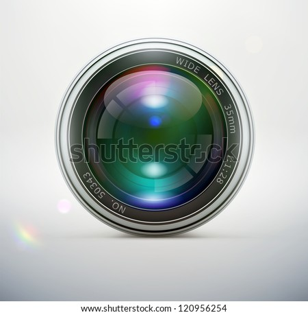 Vector illustration of a single detailed camera lens icon isolated on soft background