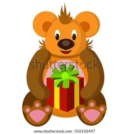 Vector illustration of a sitting bear with gift Packed