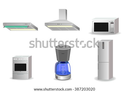Vector illustration of a six appliances set