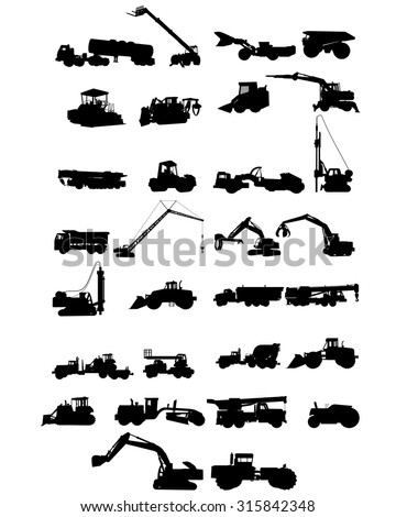 Vector illustration of a six construction machinery silhouettes - stock vector