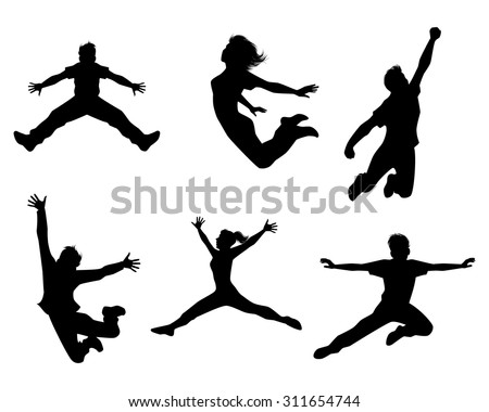 Vector illustration of a six jumping teenagers - stock vector