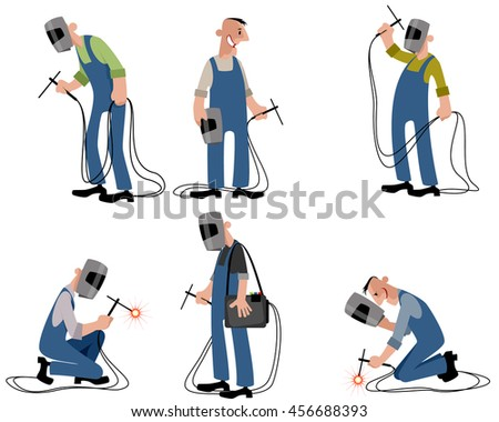 Vector illustration of a six welders set