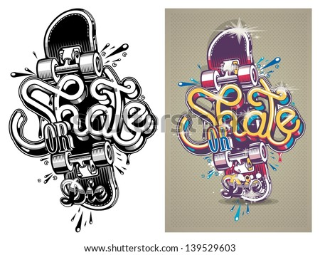 Vector illustration skate board graffitibackground stock vector vector illustration of a skate board with graffitibackground thecheapjerseys Gallery