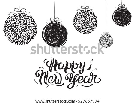 Vector illustration of a sketch greeting New Year's card and decoration