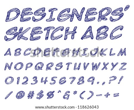 Vector illustration of a sketched alphabet numbers and symbols doodles
