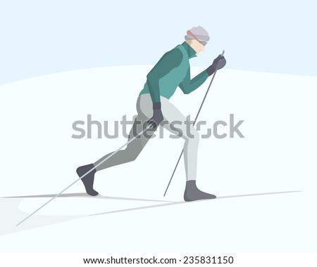 Vector illustration of a skier gliding on a snow-covered backcountry. Winter recreational activities and sport illustration. Advertising design elements. - stock vector