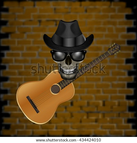 Vector illustration of a skull wearing a hat with a jazz guitar on the brick wall background. Blackout on the sides allow the use of any image on a black background. - stock vector
