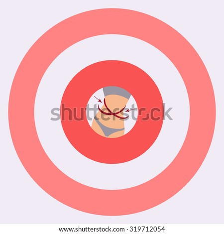 Vector illustration of a slim body on a target. Perfect body. Successful diet. Weightloss concept. Motivational poster for fitness gyms and health magazines.  - stock vector