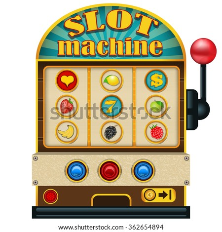 Vector illustration of a slot machine high detailed icon. - stock vector