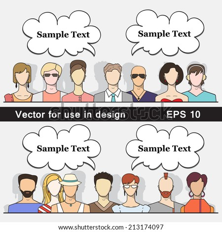 Vector illustration of a small group of different young people. Modern flat style for use in design. Vector men and women