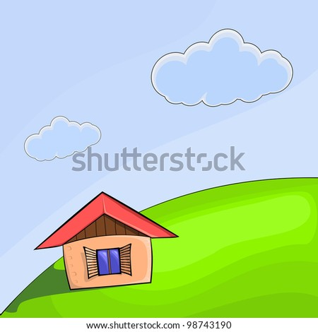 Vector illustration of a small house on the hill - stock vector