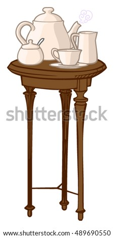 Vector Illustration Of A Small, Round, Three Legged Side Table Containing A  Complete