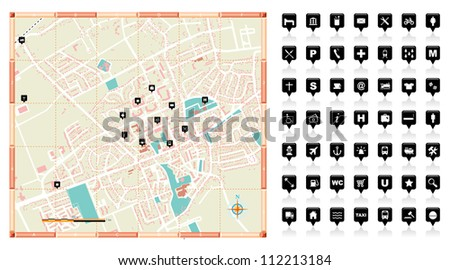 Vector illustration of a small town map. - stock vector