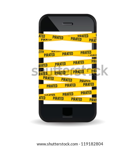 Vector illustration of a smartphone wrapped with yellow piracy warning sign. - stock vector