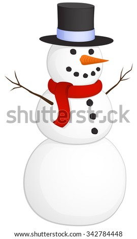 Vector illustration of a smiling snowman.