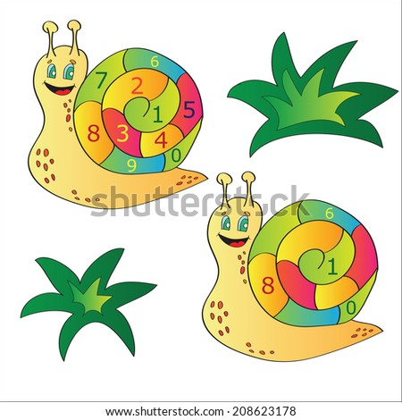 Vector illustration of a snail - a puzzle for child development and learning - stock vector