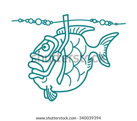 Vector illustration of a snorkel diving fish. Can be easily colored and used in your design. - stock vector