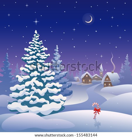 Vector illustration of a snow covered village at Christmas eve - stock vector