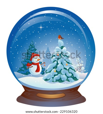 Vector illustration of a snow globe with a cute snow man and a Christmas tree, isolated on a white background - stock vector
