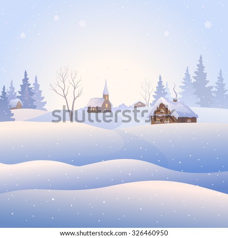 Vector illustration of a snowy village landscape, square background - stock vector