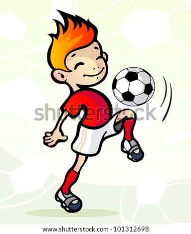 Vector illustration  of a soccer player with ball