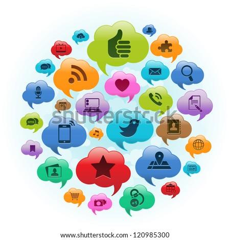 Vector Illustration of a social media applications in cloud thought bubbles. EPS 10 no transparencies. - stock vector