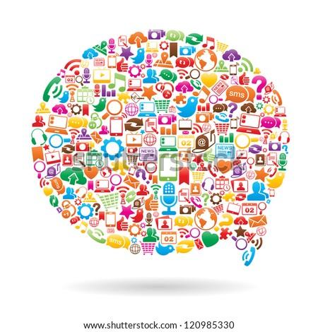 Vector Illustration of a social media speech bubble. no transparencies - stock vector