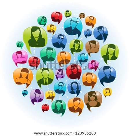 Vector Illustration of a social networked group of people. transparencies. - stock vector
