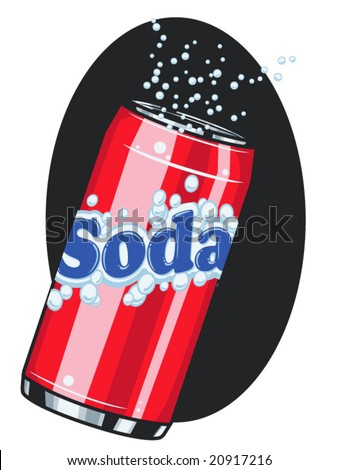 vector illustration of a soda can with fizz... all text and artwork is on one layer and contained within a clipping mask.. - stock vector