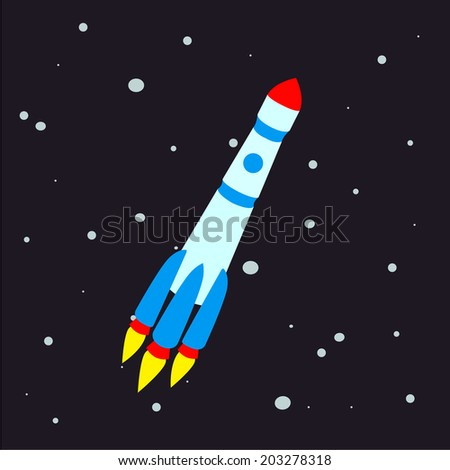 Vector illustration of a space rocket. - stock vector