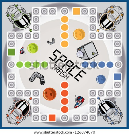 Vector illustration of a space themed board game - stock vector