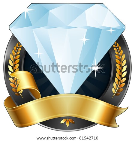 Vector Illustration Of A Sparkling Diamond Gem Award Or Sports Plaque Medal With Gold Ribbon And