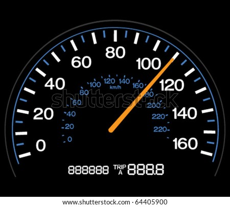 Vector illustration of a speedometer at 100 MPH. - stock vector
