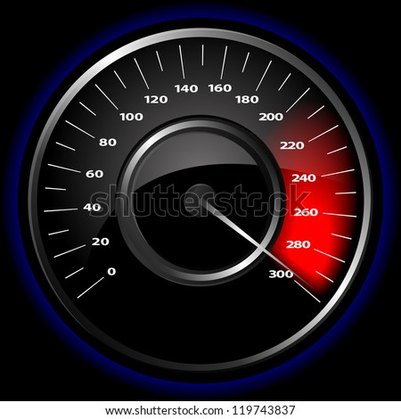 Vector illustration of a speedometer over a black background
