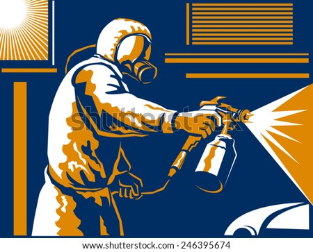 Vector illustration of a spray painter spraying paint with air-pressurized spray gun done in the retro style of the 1930s. - stock vector