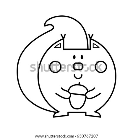 vector illustration of a squirrel coloring page