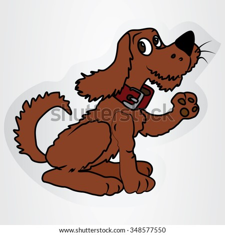 Vector illustration of a sticker with a cartoon hunting dog.