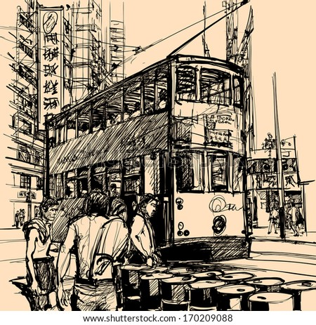 Vector illustration of a street in Hong Kong with a tramway (All texts, chinese characters, ads are purely fictitious) - stock vector