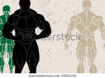 vector illustration of a strong man silhouette - stock vector