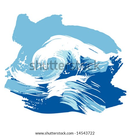 Vector illustration of a stylized brushed ocean wave splashing. Design element. - stock vector