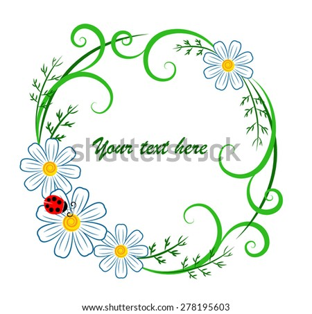Vector illustration stylized floral wreath chamomile stock vector vector illustration of a stylized floral wreath with chamomile flowers summer greenery and a ladybug stopboris Images
