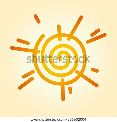 Vector illustration of a stylized sun. Can be easily colored and used in your design. - stock vector