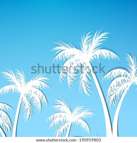 Vector Illustration of a Summer Background with Palm Trees