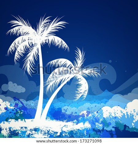 Vector Illustration of a Summer Background with Two Palm Trees