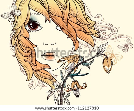vector illustration of a summer girl with flowers and butterflies - stock vector