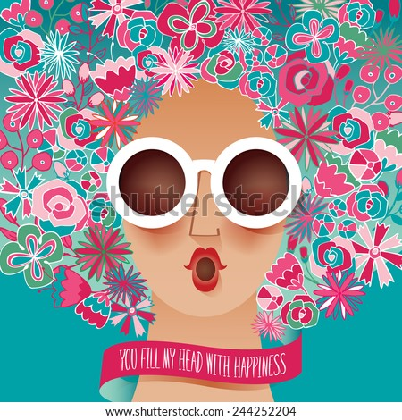 Vector illustration of a sunglasses woman with floral pattern on her hair. bluish green background - stock vector