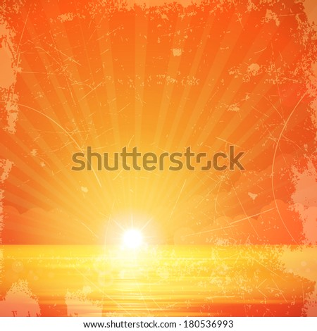Vector Illustration of a Sunset Background